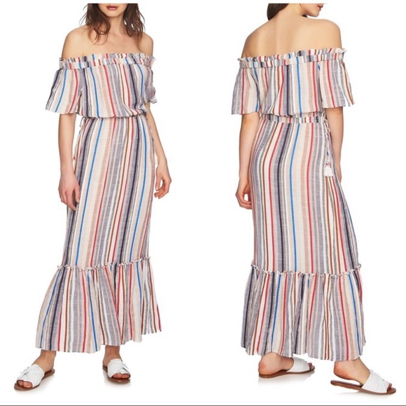 1. State Off The Shoulders Stripped Maxi